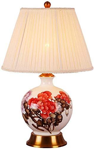MUZIDP Lámpara de Mesa de cerámica Oriental Grande de Flores Rojas  Estilo Chino Mandarin Estilo salón y dormitorios