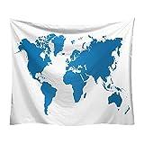 Tapiz, tapiz de patrón de mapa del mundo, dormitorio, tapiz de...