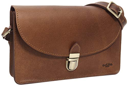 ✅ Design: The handbag made of real leather convinces with its simple design in a vintage brown. Therefore the bag can be worn for all occasions. You can open and close the leather handbag easily with the matt-golden snap closure. ✅ Space: In the hand...