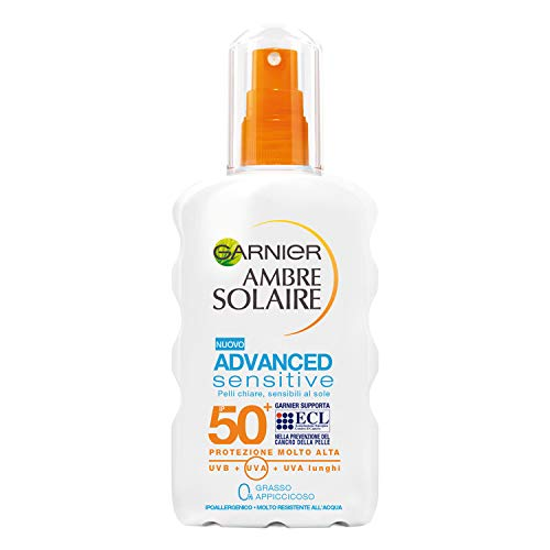 Garnier Ambre Solaire Spray Protettivo IP 50+ Advanced Sensitive, Protezione Molto Alta, 200 ml