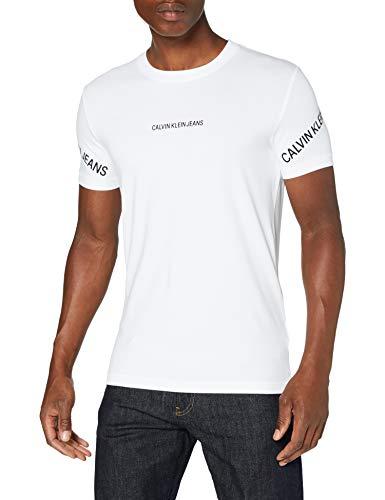 Calvin Klein Stretch Logo tee Camisa, Bright White, XL para Hombre