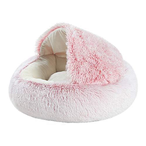TTinah Iglu para Perros Cama Antiestres Gato Cama Perro Pelo Lujoso Camas De Perros Gato Cama For Mascotas PequeñAs Y Medianas Aliviar La Ansiedad 40X40,Pink Pearl