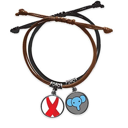Beauty Gift Red Ribbon - Pulsera de piel con diseño de elefante, para el Día Mundial del Sida
