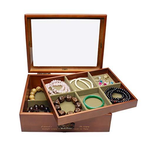 Organizador de Joyas Joyería de madera caja de almacenamiento Organizador - 2 Capa caso de almacenamiento de exhibición de la joyería joyería del sostenedor de la caja del pendiente de la pulsera del