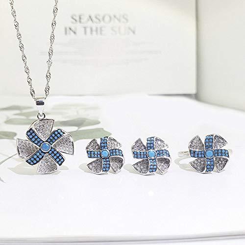 Mode S 925 sterling zilveren halsketting opening ringen oorbellen vrouwen sieraden molen strass blauw turquoise retro classic creatief charme high-end cadeau