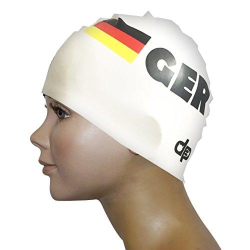 Diapolo Professionale Schwimmkappe Germany Swimming Weiß Silikon Badekappe Bademütze Schwimmmütze für Damen und Herren und Mädchen und Jungen