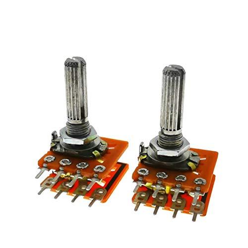 LAANYMEI Relé 5 unids WH148 25mm 16 Tipo Volumen de Sonido Potenciómetro Doble 8 pies con Grifo Central B50K B100K 50K 100K RH2702 (Resistance : 100K Ohm)