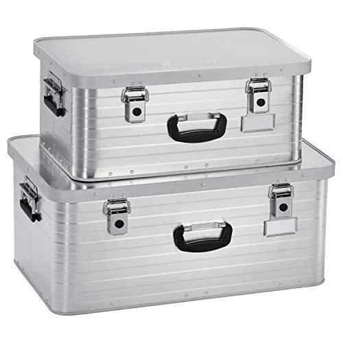 Enders Alubox 47 + 80 Liter + Schloss Set, verarbeitet mit Moosgummidichtung, Alukiste verwendbar als Transportbox, Lagerbox - Alukoffer Lagerkisten Metallkiste Metallbox Aluboxen