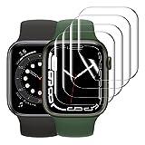 KIMILAR [4 Piezas] Protector de Pantalla Compatible con Apple Watch 7 45MM/ SE 6 5 4 44MM/ 3 2 1 42MM Protector Película,Non Vidrio Sin Burbujas, Soft TPU Film Compatible con iWatch Series 42/44/45mm