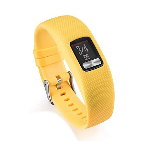 Soft Sillicone Strap De Pulsera para Garmin VIVOFIT 4 Actividad Banda De Reemplazo De Fitness para Garmin VIVOFIT4 SmartWatch (Color : Yellow, Size : S)