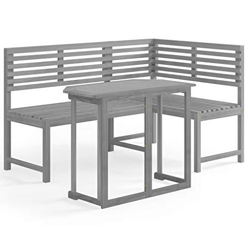 vidaXL Akazienholz Massiv Bistroset 2-TLG. Grau Gartenbank Tisch Eckbank Gartenmöbel Balkonmöbel Balkonset Sitzgruppe Gartengarnitur