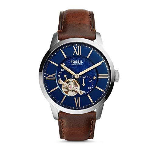 Fossil Herren Analog Mechanik Uhr mit Leder Armband ME3110