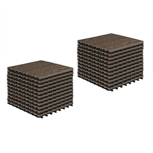 EUGAD WPC Premium Terrassenfliesen Bodenfliese Klickfliese Holzoptik, Terrassendielen Fliese Bodenbelag mit klicksystem, 22 Stück 30x30 cm = je 2 m² Braun