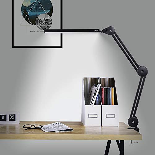 Lámpara Escritorio LED, Lámpara de Arquitecto de 14W, Lámpara de mesa de Oficina con 3 Colores y 10 Niveles de Brillo, Utilizada para Leer, Trabajar, Estudiar, Negro [A-level energy +++]