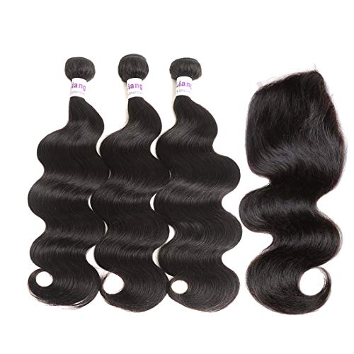 LiangDian 9A Brazilian Virgin Hair 3 Bundles Body Wave Human Hair Body Wave Virgin Hair Extensions Natural Color (14 16 18+12)