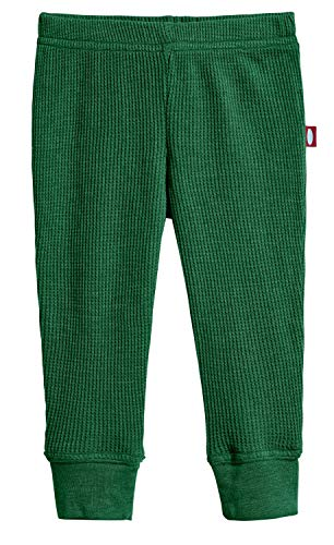 City Threads Baby Boys and Baby Girls Soft Cotton Thermal Cuffed Baby Newborn Infants Pants Joggers for Sensitive Skin or SPD Sensory Friendly Clothing, Forest Green, 12/18M
