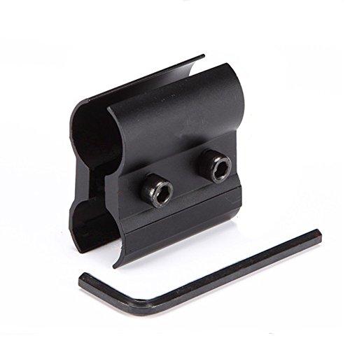 Sdkmah9 Soporte de linterna de aleación de aluminio, soporte de barril QQ linterna de soporte, soporte de anillo de barril con llave de perno para pistola de caza, linterna láser mira (negro)