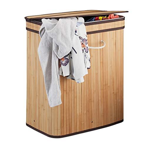 Relaxdays cesto portabiancheria con coperchio, 2 scomparti, contenitore per dividere i panni sporchi, traspirante, 72 l, bambù, legno naturale