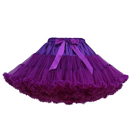 VEMOW Heißer Elegante Mädchen Karneval Mode Einfarbig Tanzparty Tanz Ballett Nette Tutu Tüll Röcke (B, Freie Größe)