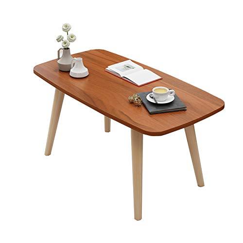 Mesa rectangular café salón comedor minimalista MDF superior con patas sólidas (color: sándalo, tamaño: 80 × 40 × 42,5 cm)