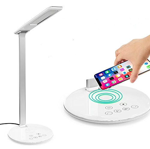 Stylish Wireless Charging Adjustable Office LED Desk Lamp with 9V/1.2A USB Port, Qi Charger for iPhone X, Touch Control, 1&2 H Timer, 4 Level Eye Protection