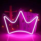 Pink Crown Letreros de neón Led Luces colgantes de pared grandes Lámpara de neón USB Letrero para dormitorio Habitación de niños Cafetería Apartamento Dormitorio Fiesta de cumpleaños Aniversario Boda