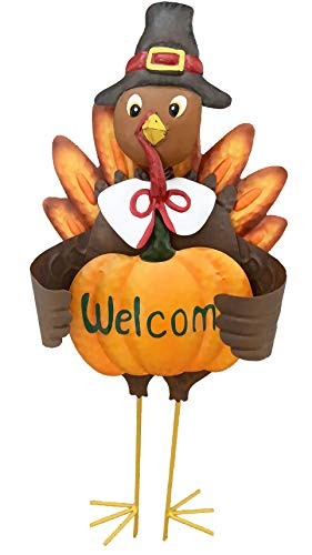 Grace Home Metal Turkey Lawn Stake, Thanksgiving Yard Décor with Pumpkin Welcome Sign,Fall Harvest Autumn Thanksgiving Lawn Yard Outdoor Garden Decorations 23' H