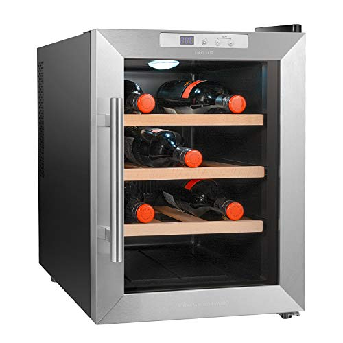 IKOHS VINARIAM WOOD 1200 - Vinoteca de 12 botellas, 33 l, 70 W Luz LED, Display Digital, 3 Estantes, Doble Aislamiento, Zonas de temperatura de 11-18 grados, Baldas Madera