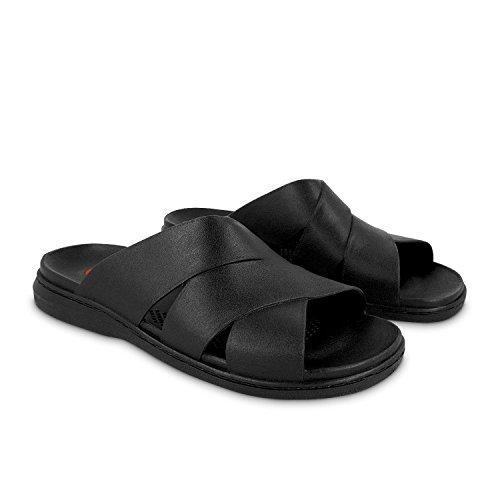 Okabashi Mens Milan Flip Flops - Sandals, L - (M 8-8.5), Black