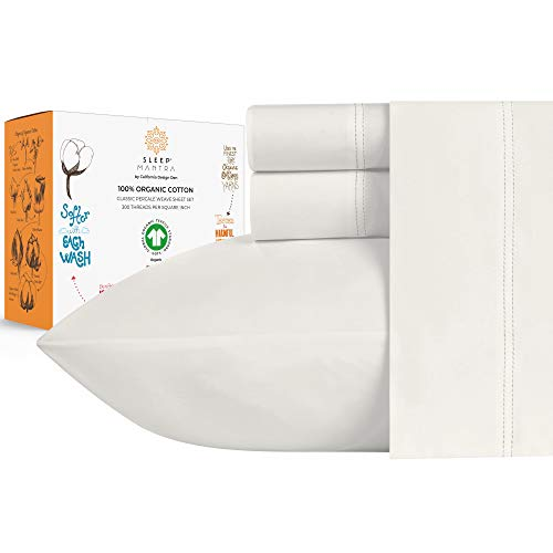 100% Organic Cotton Bed Sheets - Crisp and Cooling Percale Weave,...