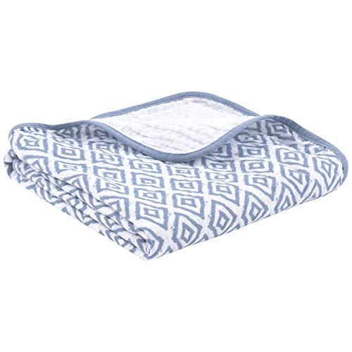 Couverture premium pour bébé, 120x120cm, 100% coton bio, certifiée OEKO-TEX, conserve sa couleur et sa forme, 4 épaisseurs, idéale pour la poussette, vendue par emma & noah (Losanges Bleu)