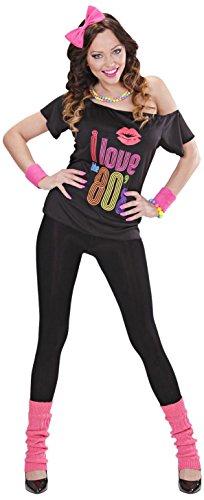 Widmann 9884P –Kostüm, 80er Jahre, T-Shirt, Haarreifen mit pinker Schleife, pinkfarbene Stulpen, angenehmer Tragekomfort, Assi Anzug, Retro Style, verschiedene Größen Bad Taste Party, 80ties, Karneval