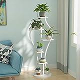 Soporte de metal multifunción, soporte de flor de hierro de pie, soporte de exhibición Bonsai Soporte de almacenamiento, soporte de flor de base estable y redonda de acero al carbono, creativo de va