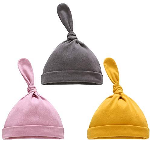 DaMohony Baby Beanie Knot Hoed 3 STKS Zachte Pasgeboren Baby Jongens Meisjes Beanie Knit Caps voor Baby Pasgeboren Lente Zomer Herfst Winter
