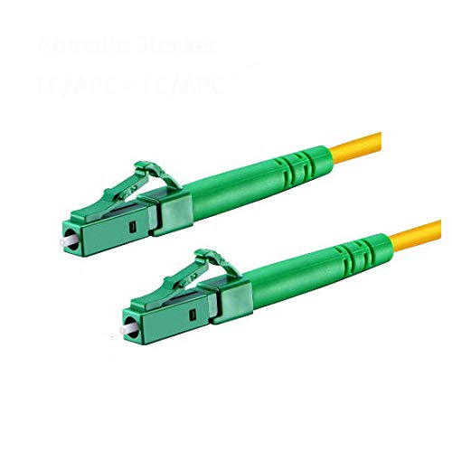 CONBIC® LWL Glasfaser-Kabel – 10m OS2 gelb, LC/APC auf LC/APC Stecker, Simplex 9/125 Patchkabel – Lichtwellenleiter 10 Meter G.657.A2