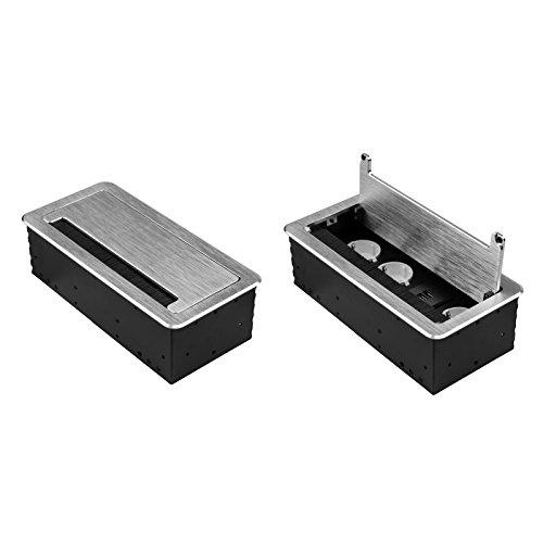 Einbausteckdose in 2 Farben Silber oder Schwarz und in den Ausführungen 2x Schuko, 3x Schuko + 1x Internet, 4x Schuko oder 3x Schuko + 2x USB auswählbar (3x Schuko 230V + 2x USB, Silber)