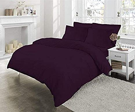 Aubergine, 4Ft Small Double Sleep/&Beyond Easy Care Percale 12 30CM Deep Fitted Sheet