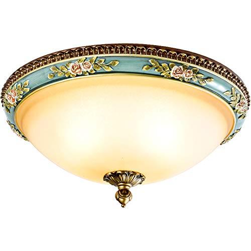 HKLY Klassisch Antik LED Deckenleuchte, Vintage Runde Deckenlampe, Harz Blumen Dekoration Und Glaslampenschirm 3...