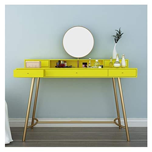 ACD Tocador y tocador con Espejo Tocador Moderno,Tocador con Espejo Mesa De Maquillaje con Taburete (Color : Yellow, Size : 100x45x75cm)