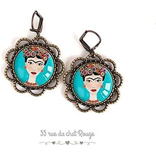 Earrings cabochon, Portrait de femme, Frida Khalo, Turquoise and fushia, flowery and multicoloured