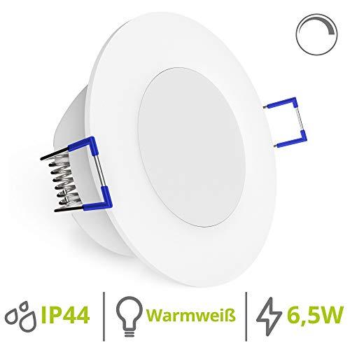 linovum WEEVO dimmbare LED Bad Einbaustrahler IP44-6,5W warmweiß - runde Deckenstrahler 230V mit extra flachem Einbau 29mm