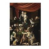 Pintura al óleo de Caravaggio 'Madonna of the Rosary' impresa en lienzo, arte de pared para dormitorio, sala de estar, decoración del hogar, cuadros de 70x98cm sin marco