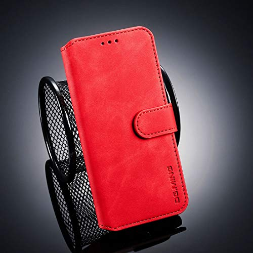 Byr883onJa Funda para smartphone con tapa horizontal para Galaxy J6 (2018), con soporte y ranuras para tarjetas y cartera (negro) (color: rojo)