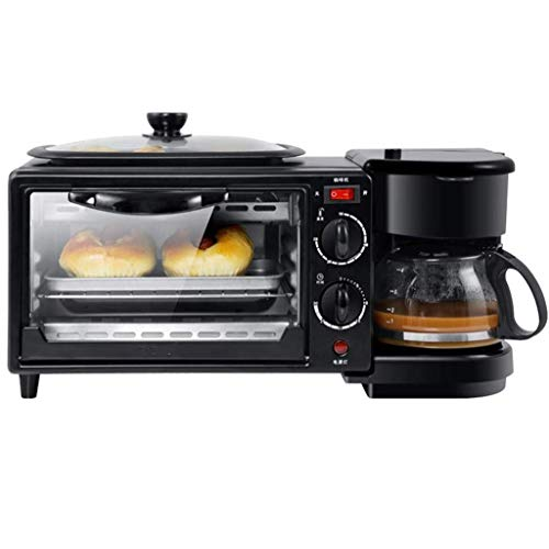 Toaster Retro 3-in-1 Family Size Breakfast Station, Coffeemaker, Toaster Oven, Griddle, Multi-Function Breakfast Maker Machine with 600ml Coffee Machine and 9L Electric Oven, 1050W/220V, Black