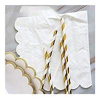 MIYU 結婚式の誕生日の装飾パーティーのホワイト使い捨て食器セット使い捨てペーパープレートストローカップゴールドスタンプ (Color : 16pcs napkins)