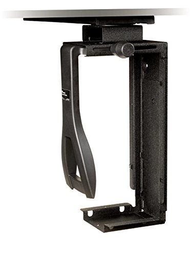 "3M Under-Desk Computer Tower CPU Holder, Width Adjust from 3.5"" to 9.3"", Height Adjust from 12.5"" to 22.5"" to Fit Most CPU's up to 50 lbs, 360⁰ Swivel, Steel Construction, 17"" Track, Black, (CS200MB)"