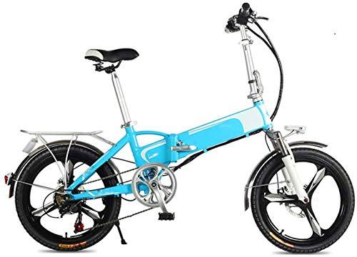 Bicicleta de montaña eléctrica, Mini bicicleta eléctrica, 20 '' Frenos plegable for adultos bicicleta eléctrica de doble disco con alarma inteligente de control remoto del viajero urbano E-Bici baterí