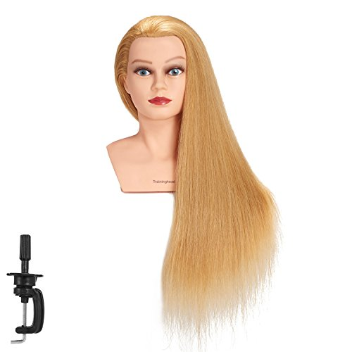 """Traininghead 28-30"""" 100% Human Hair Mannequin Head Hairdressing Training Practice Head Hair Styling Cosmetology Manikin Doll Head With Clamp (Blond)"""