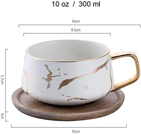 White, Mug Coffeezone 12.5 Oz Matte Ceramic Marble Tea Coffee Mug Cups with Wood Lid and Handle Luxury Gold Inlay