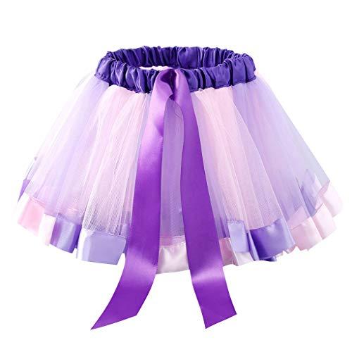 VIcoo kinderen kleine kinderen meisjes balleet dans ruches plissé Tutu Rok fantasie regenboog kleur glitter satijn rand petticoat kanten up bowknot A-Line jurk 0-8T - lila - medium